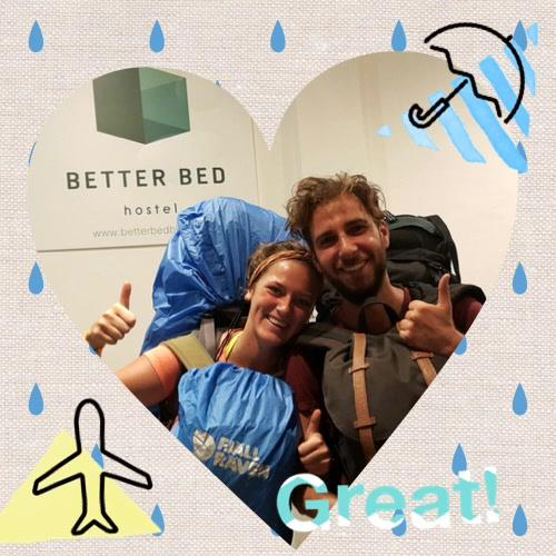 Thanks our lovely couple from Belgium 🇧🇪 Rain can't stop you for traveling #betterbed #betterbedbkk #bangkokhostel #host...