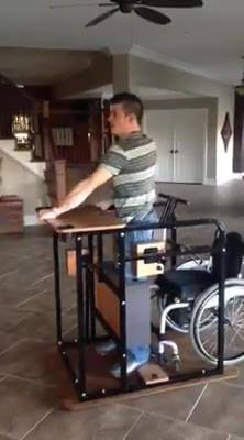 Standing from a wheelchair & back to sitting in only 16seconds.