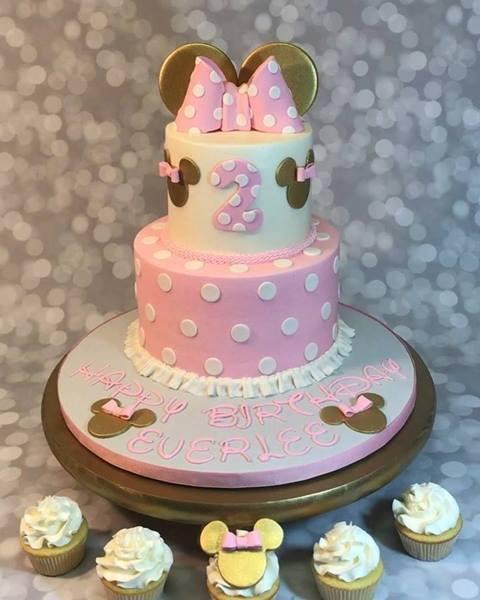 Happy Birthday Everlee!! #pinkandgold #minnieears #minniemouse #party #birthdaycake #girlsbirthday #prettyinpink #eatmor...